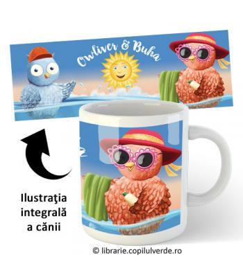 """Cană ceramică """"Buha şi Owliver la mare"""""""