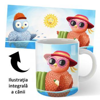 Cană din ceramică, pentru copii — Buha şi Owliver la mare
