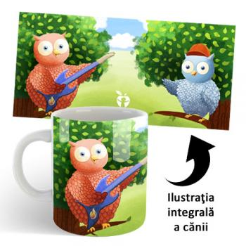 Cană din ceramică, pentru copii - Buha şi Owliver cântă rock