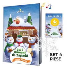 Cei trei Oameni de Zăpadă — marea poveste | set 4 piese (carte, mp3, fulg deco, mapă)