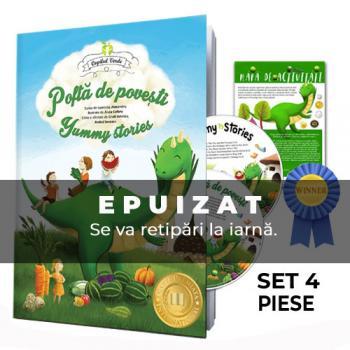 Poftă de poveşti - set bilingv RO-EN 4 piese (carte, 2 CD, mapă digitală)
