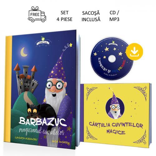 Barbazuc, magicianul cuvintelor - set 4 piese (carte, CD / mp3, cărţulie, sacoşă)