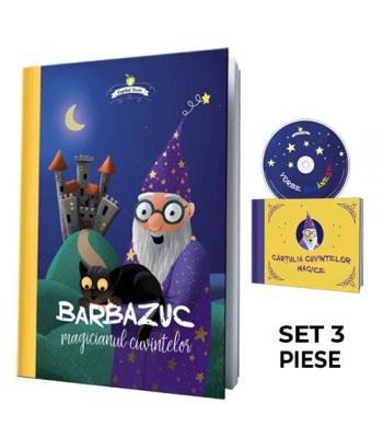 Barbazuc, magicianul cuvintelor - set 3 piese (carte, CD, cărţulie de lucru)