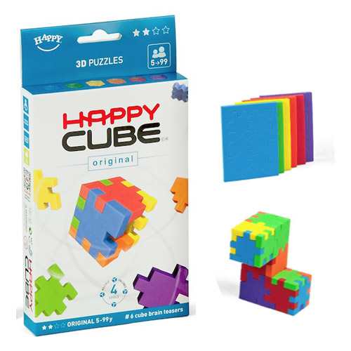 Happy Cube ORIGINAL - set 6 puzzle-cuburi lavabile (5-99 ani) + app