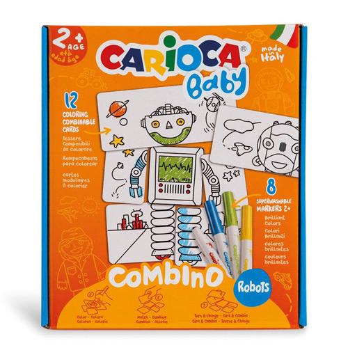 Puzzle creativ Carioca Baby 2+ Roboţi - markere şi piese cartonate
