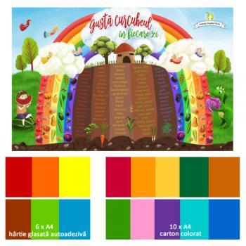 Gustă curcubeul în fiecare zi - set multicolor cu hârtie glasată şi carton