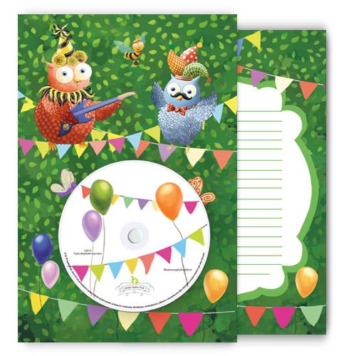 Felicitare muzicală personalizată Buha & Owliver, cu CD - verde (XXL)