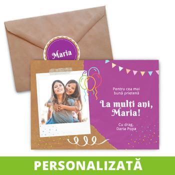 Felicitare pentru aniversări (birthday card), model Prietenie - ciclamen