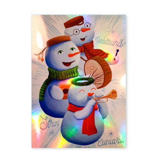 Art print A4 premium metalizat Cei trei Oameni de Zăpadă