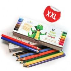 Creioane colorate ergonomice, în cutie-penar personalizabilă