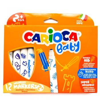Carioca Baby - set 12 carioci superlavabile, 2 ani+, coloranţi alimentari