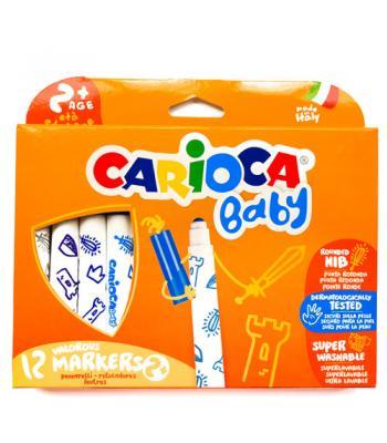 Carioca Baby - set 12 carioci superlavabile, 2 ani+, coloranţi alimentari
