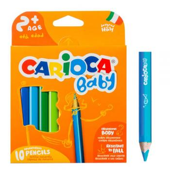 Carioca Baby — set 10 creioane colorate, 2 ani+, ergonomice