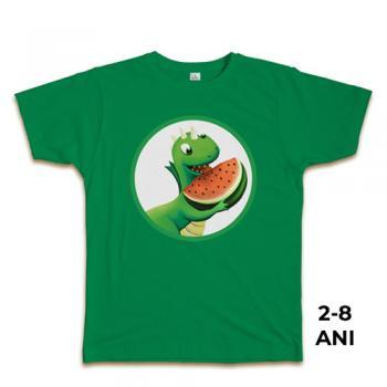 Tricou verde pentru copii, 2-8 ani, 100% bumbac, colecţia Fintifliuşcă