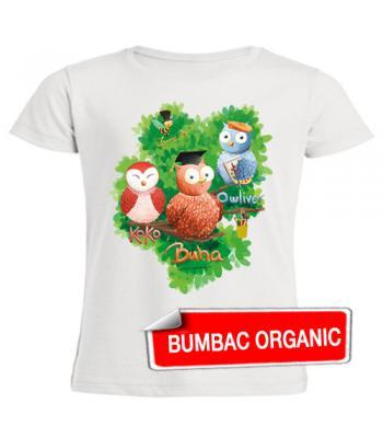 Tricou pt. copii - Buha & prietenii (organic) - croială FETE