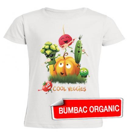 Tricou pentru copii — Legume melomane (organic), croială FETE — 3-8 ani