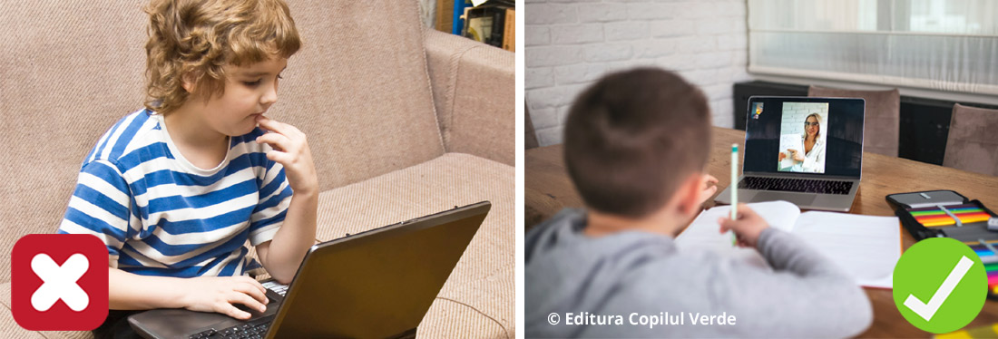 pozitie gresita la laptop copii scoala online