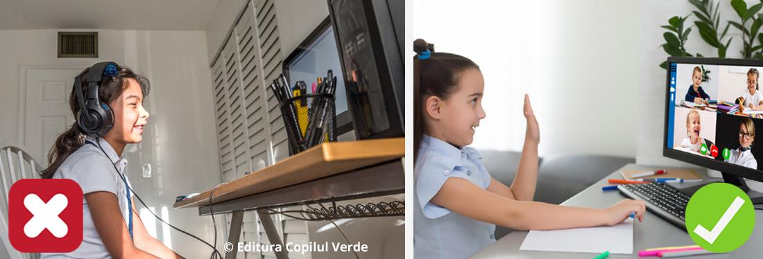pozitia corecta a copilului la calculator